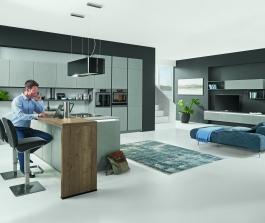 Kuchyně s obývacím prostorem S-Line 803 lak šedý cement  + dub