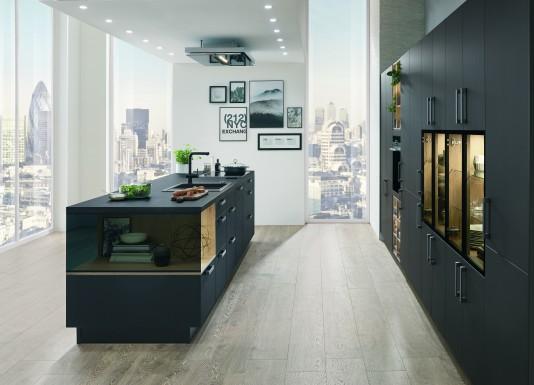 Kuchyně S-Line 961 lak laminát mat černá grafit + dub  v ultra matném, grafitově černém provedení
